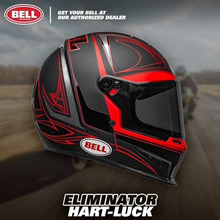 casque motard bell eliminator hart luck red black