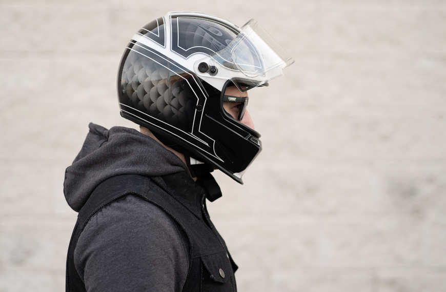 casque motard bell eliminator outlaw noir blanc