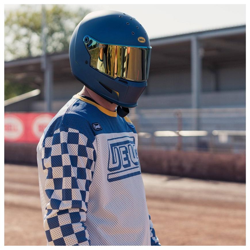 casque motard bell eliminator vanish blue yellow