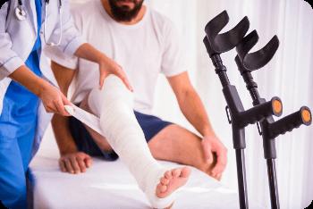 fracture de la jambe lors d'un accident de moto